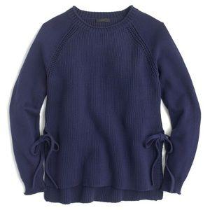 J CREW Navy Side-Tie Crewneck Knit Sweater NWT XS